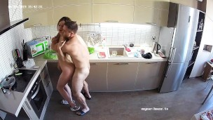 Youthfull Hot Couple has Hard Quick Sex at Kitchen
